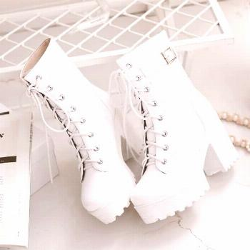 Black/White Cosplay JK Heels Martin Boots AD0088,Black/white cosplay harajuku JK heels Martin... Bl