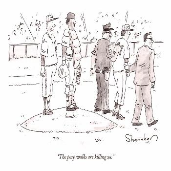 Drawing - Two Cops, One In Plain Clothes, Arrest A Pitcher by Danny Shanahan ,