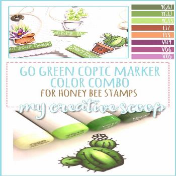 Go Green Copic Marker Color Combo - Check out this adorable Cactus Tag using Honey Bee Stamps and a