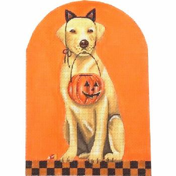 Halloween Yellow Lab Needlepoint Canvas by Melissa Shirley Designs