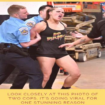 Look Closely At This Photo Of Two Cops. It's Going Viral For One STUNNING Reason  In response to