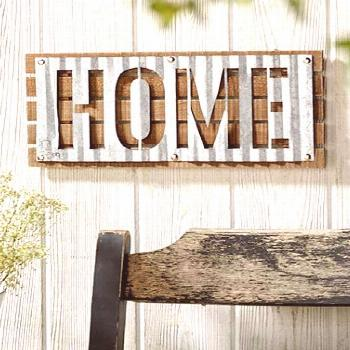 This Corrugated Metal Wall Sign is a practical addition to your decor. It features a solid wood bas