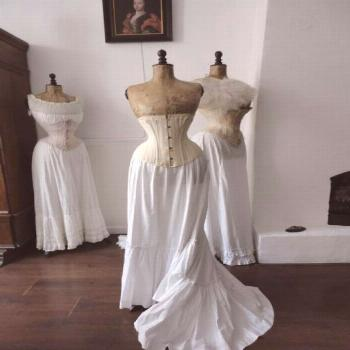 Wasp waist dress forms lovely display of corsets, petticoats and chemisettes#chemisettes